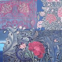 Magnolien vor japanischer Landschaft